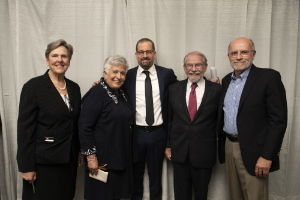 (l-r) President Milone-Nuzzo, Mattina Horner, Jordan Green, Board Chair George Thibault, and previous Director of Research Robert Hillman