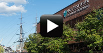 "Image with video play button for "" MGH Institute Campus tour"""