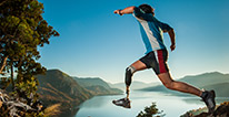 Image of man with prosthetic leg cross-country running
