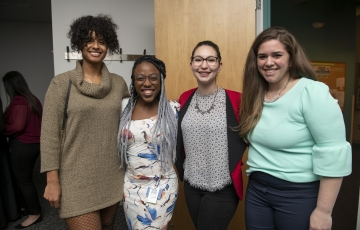 (L-R) Alyssa Savery, CSD '19; Yonnie Collins, ABSN '19; Maya Shaanan, OTD '21 and Jessica Upton, Manager of Student Services stop for a photo.