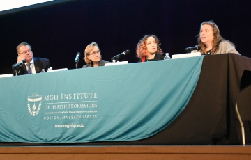 Panelists at the 2019 Ann W. Caldwell Lecture: Interprofessional Rounds were (l-r): Dr. Ronald Tompkins;  Lisa Hall, RN; Robie Robitaille; and Rivka Solomon.