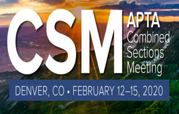 Graphic shows CSM logo for February 2020 - the American Physical Therapy Association's annual meeting