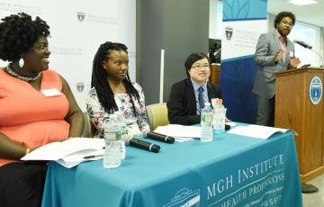 Dr. Jonathan Jackson (far right) moderated the first panel with (l-r) Dr. Ndidiamaka Amutah-Onukagha; Kenya Palmer, MS-Nursing '13, and Lydia X.Z. Brown.
