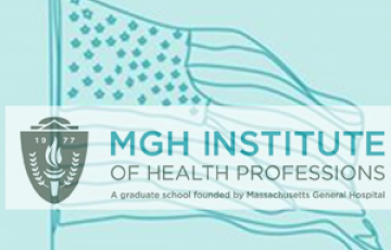 mgh ihp logo over a sketch of the american flag in teal