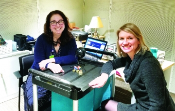 """Dr. Hogan, left, with Emily Zimmerman of Northeastern University, one of many guests - including several IHP colleagues - she has interviewed on """"See, Hear, Speak."""""""
