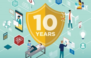 Cover from winter magazine shows illustration of many research elements like lab coats and microchips with 10 years on a badge in the middle