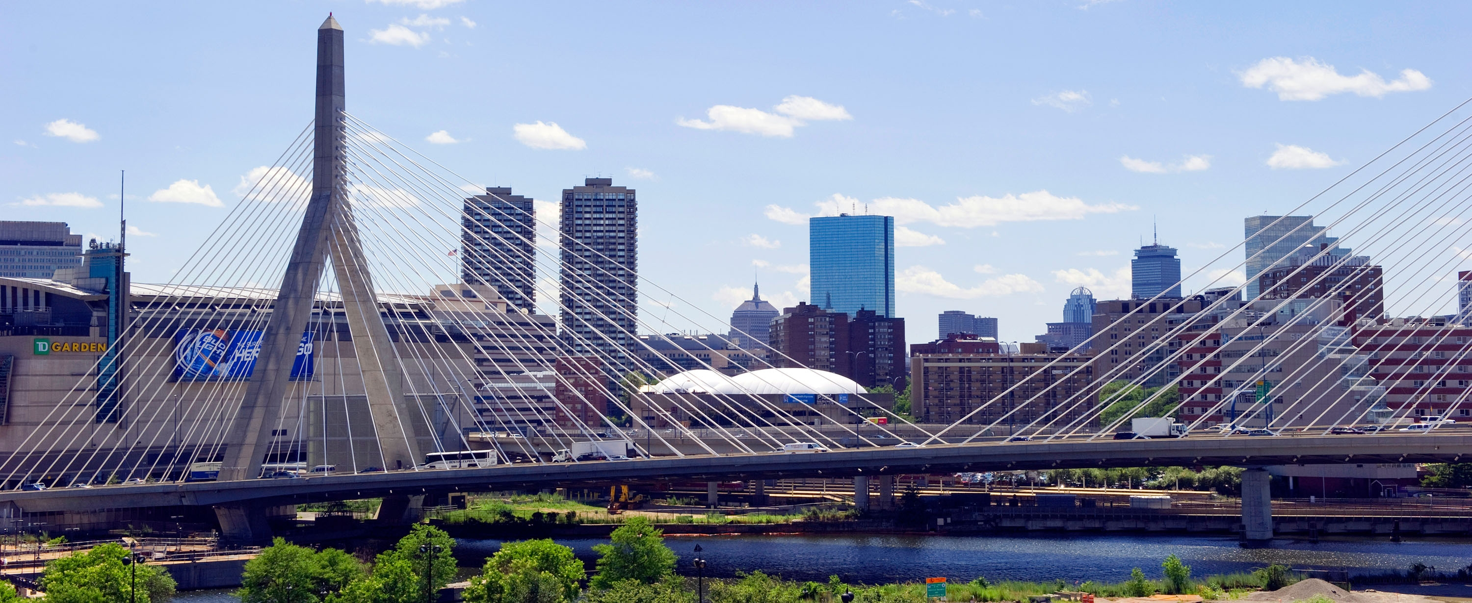 Boston Skyline with the Zakim Bridge in the foreground