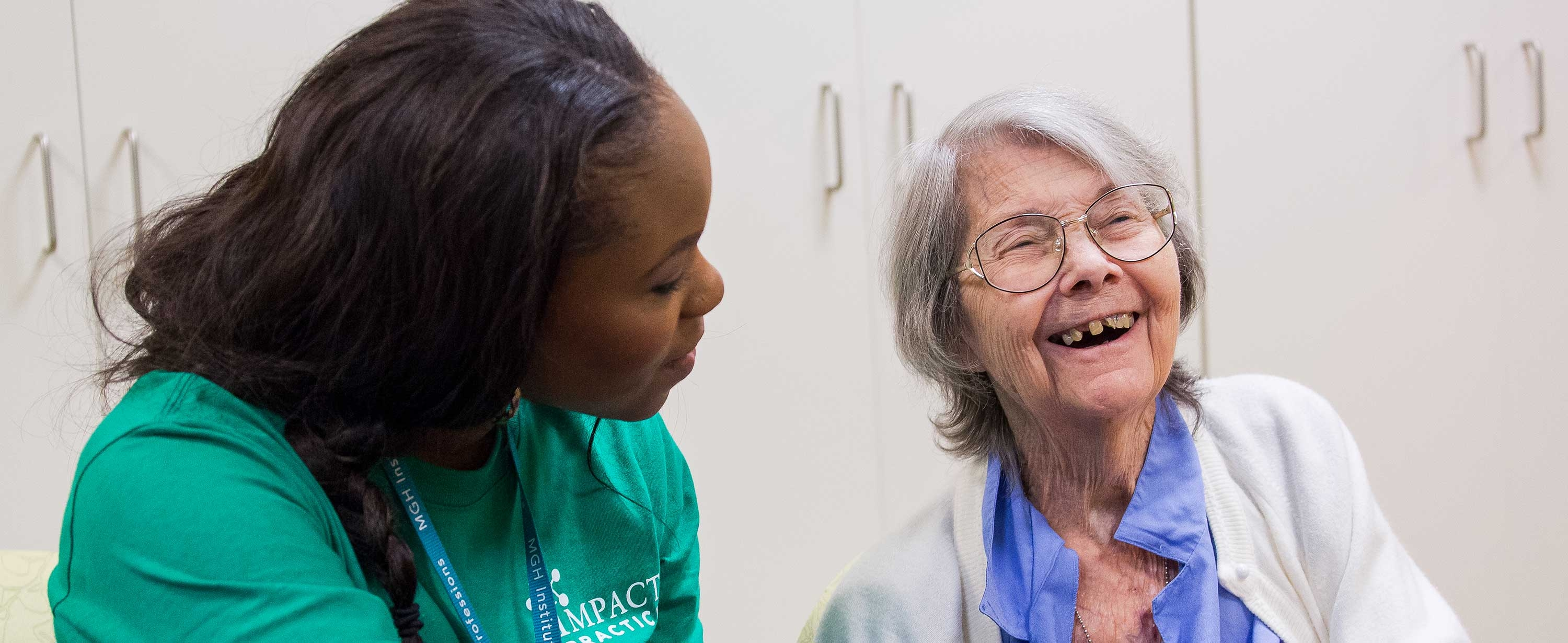 Image of nursing student with elderly client