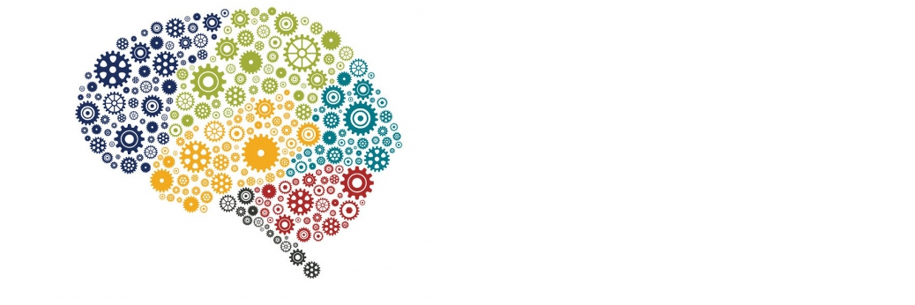 Multicolored gears form the shape and outline of a brain