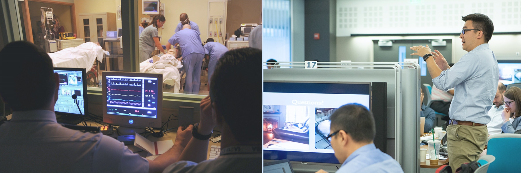 two photos of simulation, one a classroom with computers and one of a patient care room