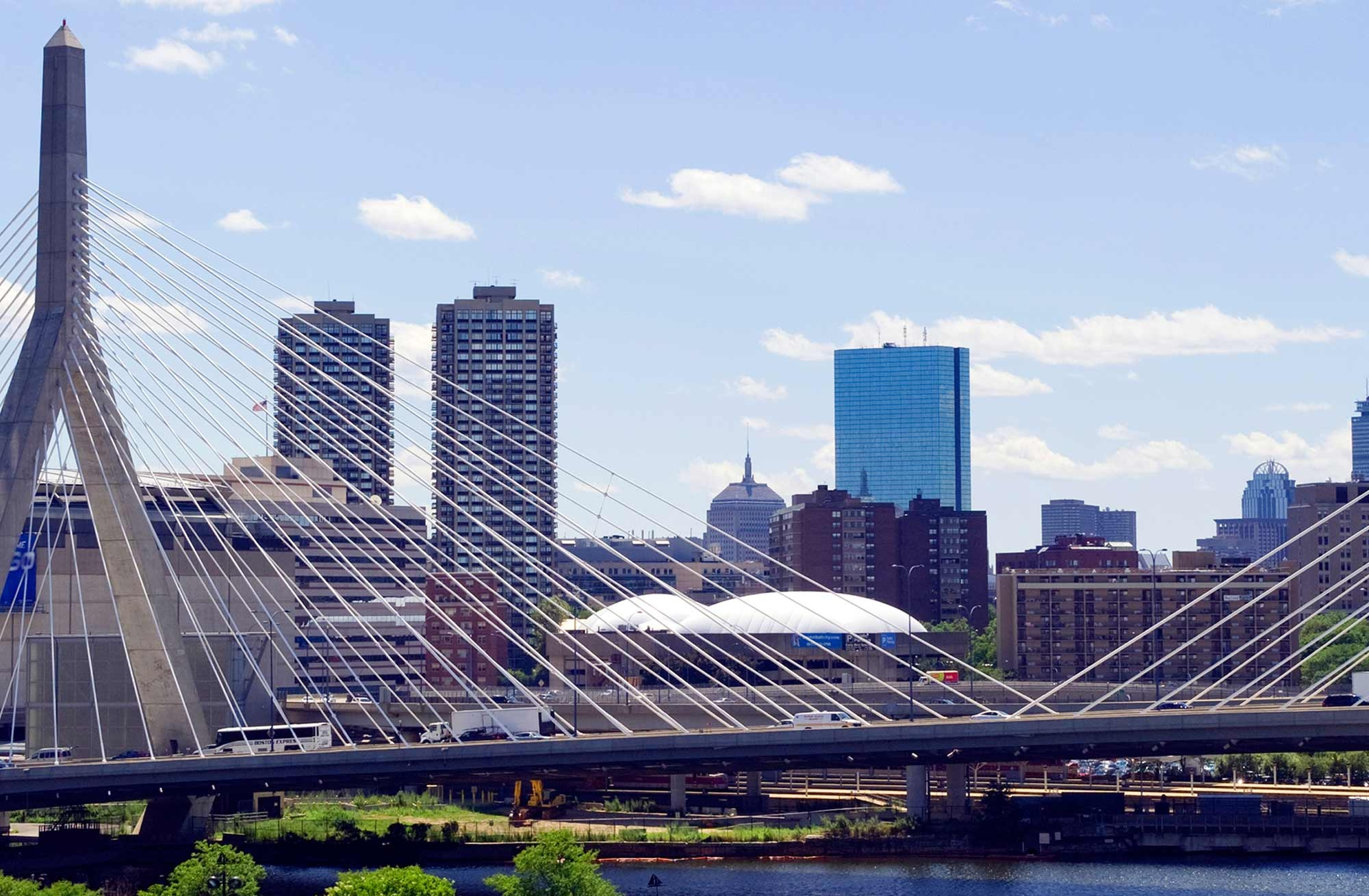 Photo of the Boston skyline with the Zakim bridge