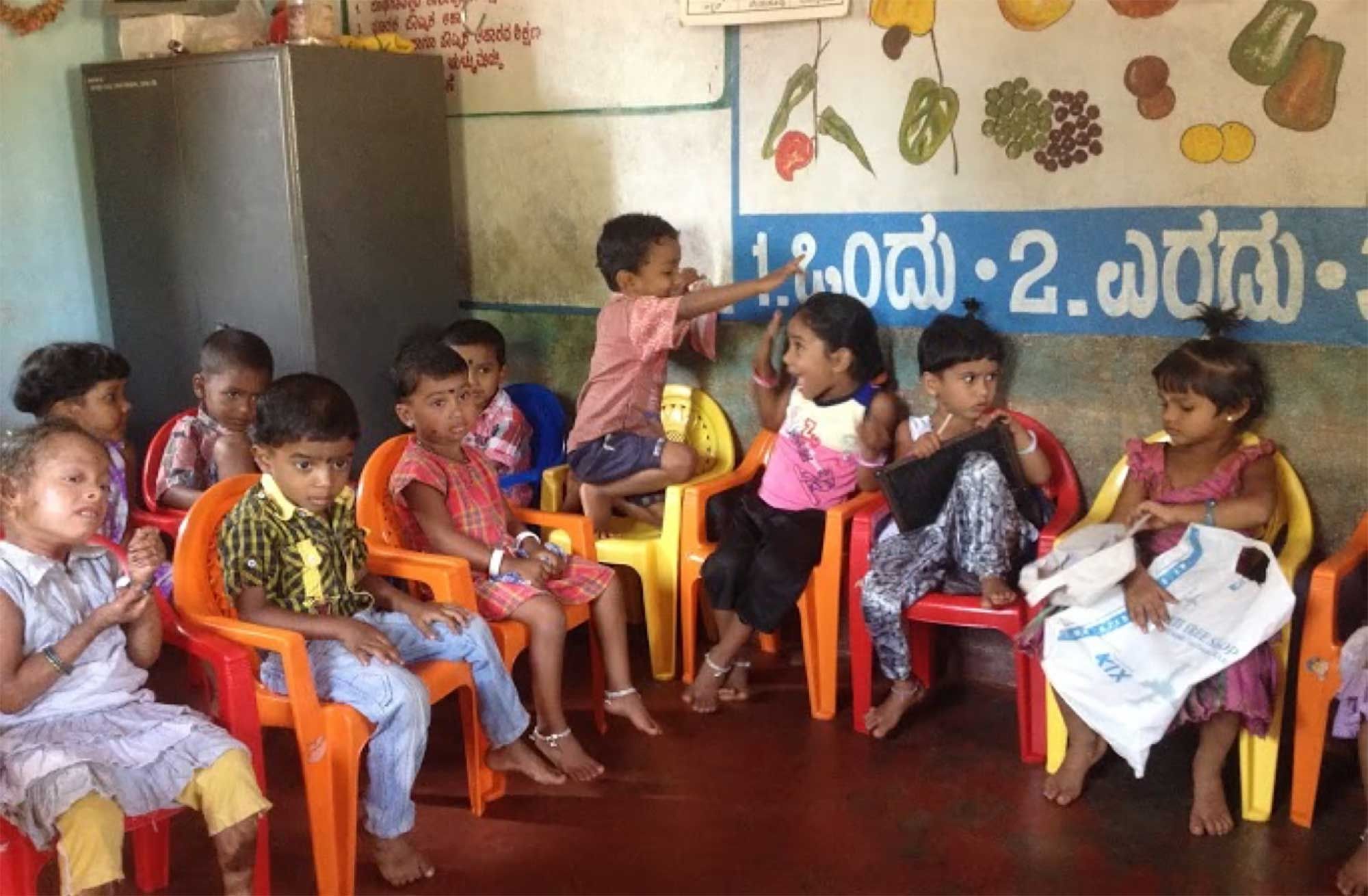 Photo of children in a mother and child center in India