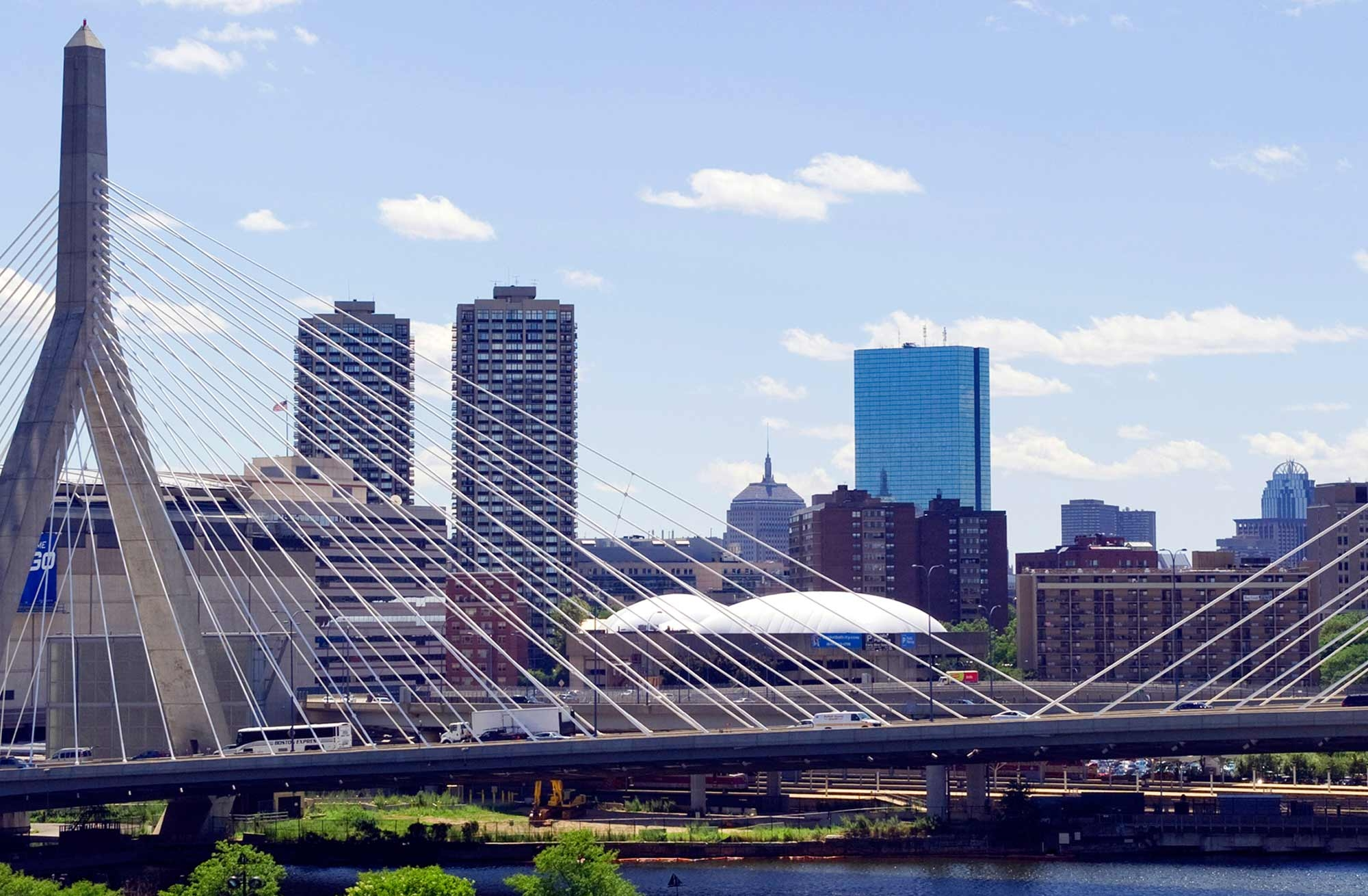 Boston skyline with Zakim Bridge