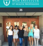 MGH Institute BSN students in front of Shouse after completing last final of summer 2016 semester