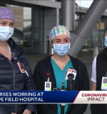 BSN students Joanna Ghilardi, Ally Luongo, and Melissa Richard during their WCVB-TV interview at Boston Hope.