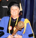 Pat Lussier-Duynstee leads the 2008 Commencement precession.