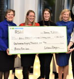 RSM has awarded two grants to the MGH Institute, including one in January 2020,  to help the people of Charlestown. Patrick O'Neill of RSM, IHP President Paula Milone-Nuzzo, IHP students Elise Hopkins Gallegos and Alexandra Hanson, IHP Chief Development Officer Clare McCully, and Erinn Johnson of RSM.