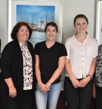 Photo of David Storto, President of Partners Continuing Care and Spaulding Rehabilitation Network; Jean Bernhardt, Director, MGH Charlestown Health Care Center; scholarship recipients Kiley Doris & Emily Ringrose; Paula Milone-Nuzzo, President, MGH Institute