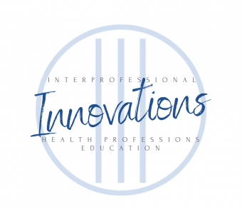 Logo for the Interprofessional Innovations in Health Professions Education podcast has three blue lines and a circle with Innovations in script over them