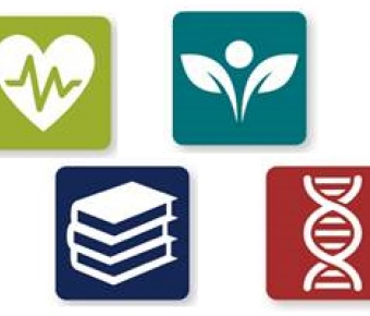 TIle contians icons for the 4 centers - a heart with a heartbeat, stacked books, a DNA strand and a budding plant