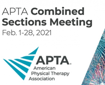 American Physical Therapy Association logo which is a triangle made of teal lines, along with fireworks and the conference dates of Feb 1-28