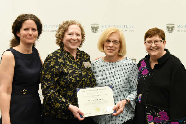 (l-r) Program Director Regina Doherty, Director of Clinical Education Mary Evenson, Ann R. Jampel, PT, MS, and Chair Lisa Connor.