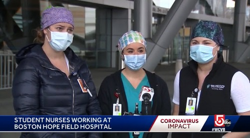 screen grab from the channel 5 news report on Institute nursing students