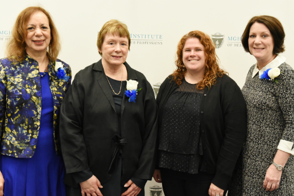 (l-r) Dean Inez Tuck, DNP Program Director Margie Sipe, Debra Kelly, and Program Director of the Prelicensure/Generalist Programs Suellen Breakey