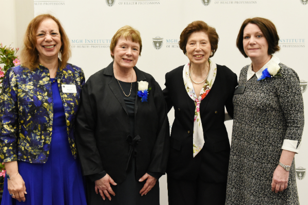 (l-r) Dean Inez Tuck, DNP Program Director Margie Sipe, Inge Corless, and Program Director of the Prelicensure/Generalist Programs Suellen Breakey