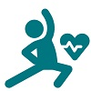 Icon of person stretching with cardio heart