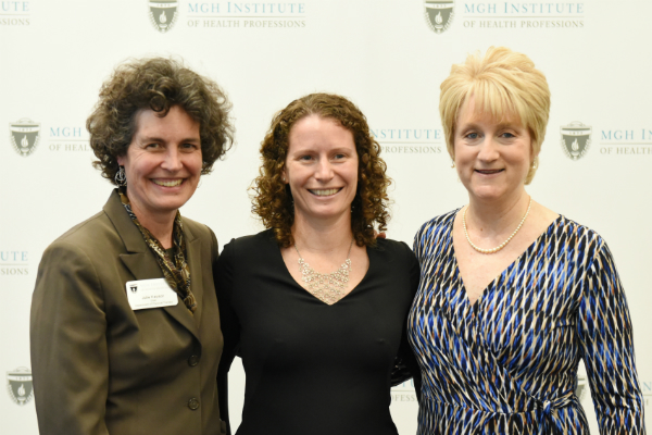 (l-r) Chair Julie Keysor, Elizabeth M. Sims, and Director of Clinical Education Donna Applebaum