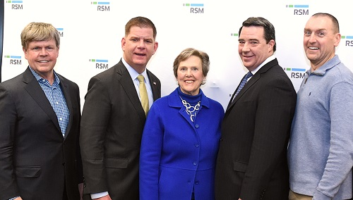 Photo shows President Paula Milone-Nuzzo  with Mayor Walsh and group