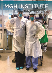 cover of magazine shows two nursing alumni in PPE