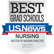 """shield says """"best grad schools doctor of nursing practice 2021"""" with """"US news and world report"""" in a blue ribbon across it"""