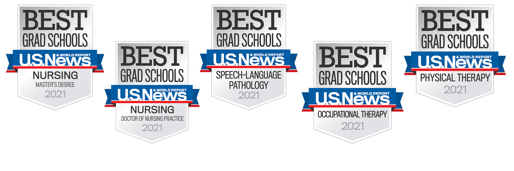 banner shows all award badges for the 5 schools recognized in US News and World Report
