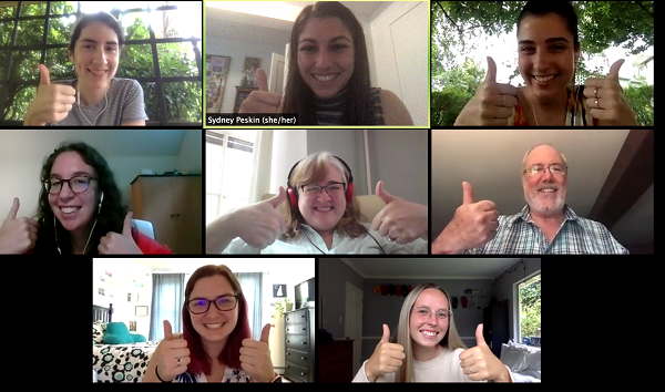 Screenshot of a zoom meeting where 8 members of the WELL team give the thumbs up