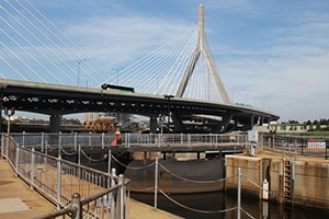 Photo of pedestrian walk over the Charles River Locks