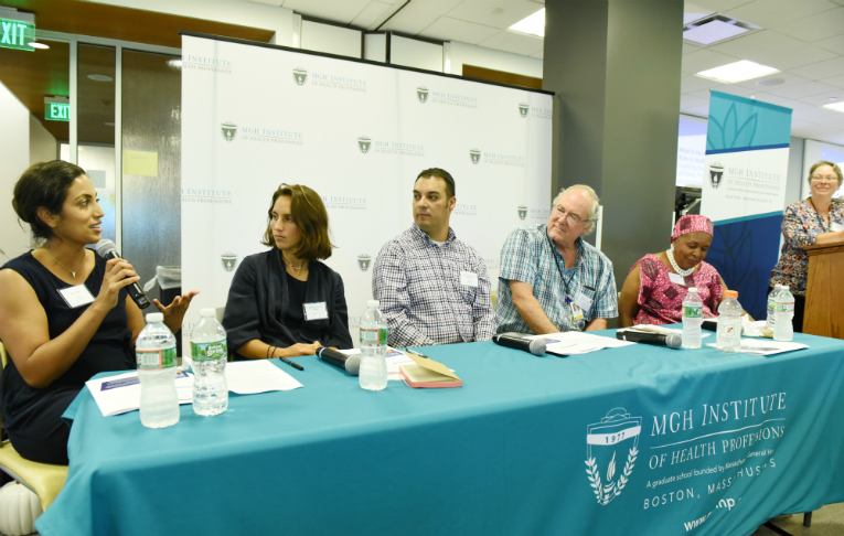 The second panel consisted of (l-r): Bani Singh, MS-Nursing '20; Margarida Guerra-Larson, DPT '19; Jorce Sanchez De Lozada, Staff Council chair; Charley Haynes, CSD faculty. At far right is moderator Antonia Makosky, SON faculty.