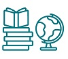 icon of books and a globe
