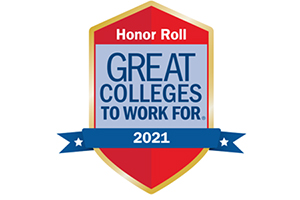 """shield says """"honor roll great college to work for"""" with """"2021"""" in a blue ribbon across it"""