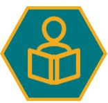 Icon in the shape of a honeycomb shows a icon of someone reading