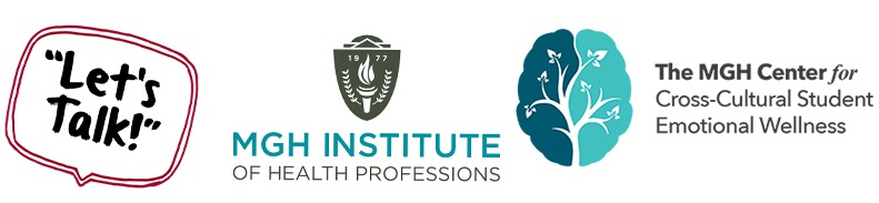 logos for let's talk and the mgh center for cross-cultural student emotional wellness
