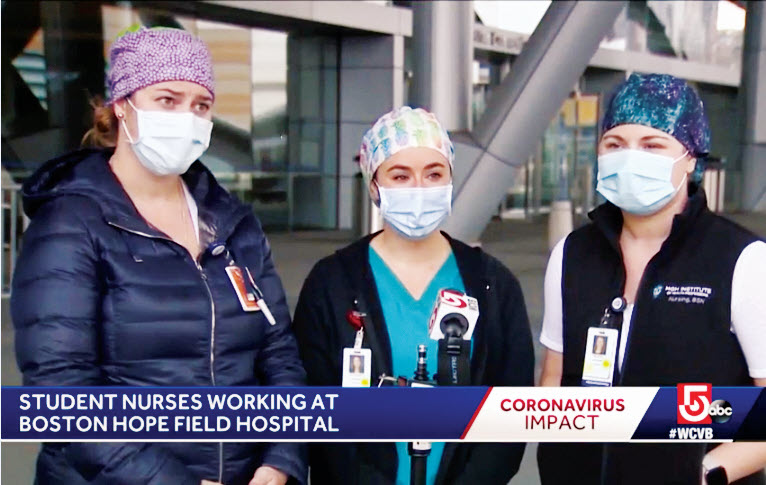 screen shot of three nurses on tv all wearing masks