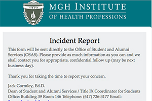 Photo of the Online Student Incident Report form