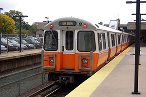 Photo of MBTA Orange Line car at Oak Grove Station