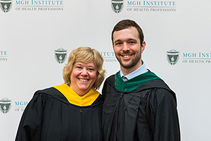 Photo of PA Director Lisa Walker and Student Excellence in Leadership awardee Scott Turner