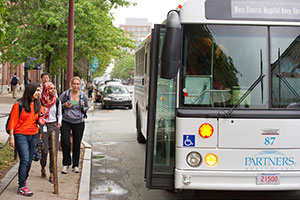 Photo of Partners Shuttle at stop in Charlestown Navy Yard