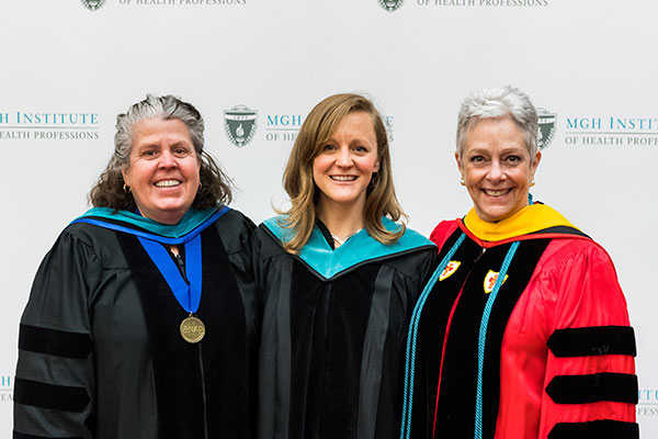 Assistant Professor Jane Baldwin, Kristin Michelle Smith '17, and Chair Pamela Levangie