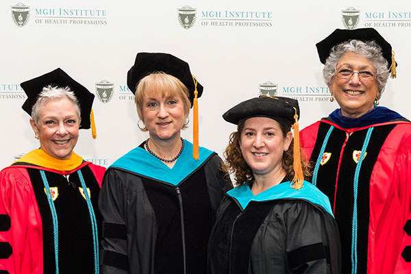 (l-r) Chair Pam Levangie, Director of Clinical Education Donna Applebaum, Leah Jensen, and Dean Leslie Portney