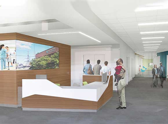 Architectural drawing of new clinical care center reception area